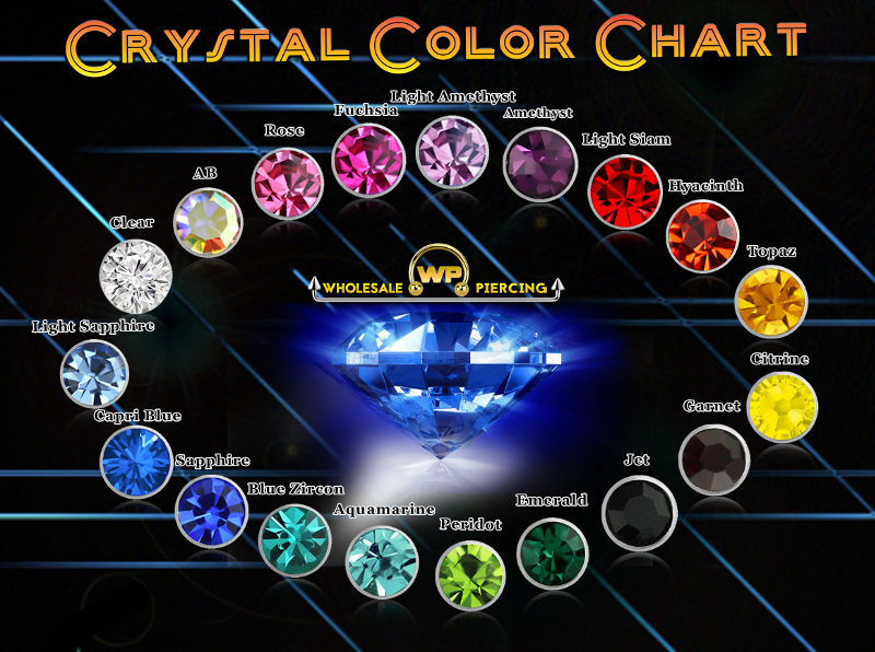 Wholesale Piercing Crystal Color Chart
