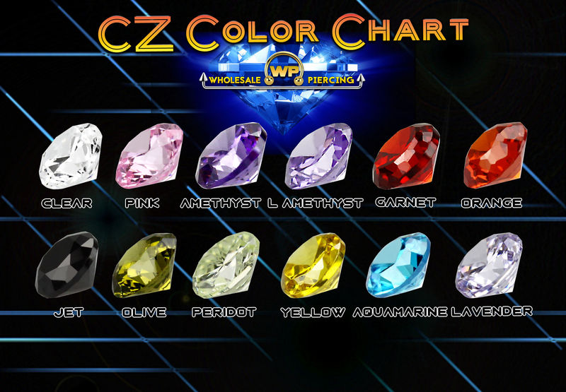 Wholesale Piercing CZ Color Chart